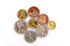 Different coins collection on white Royalty Free Stock Photography