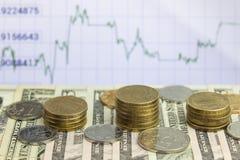 Different coins lie on dollar bills Stock Photo