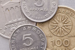Different coins of old Greek money Stock Images