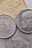 Different coins of old Greek money Royalty Free Stock Photo