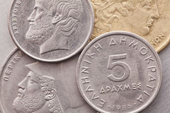Different coins of old Greek money Stock Image