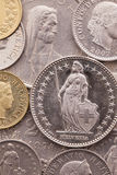 Different coins of Swiss money Royalty Free Stock Images