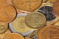Different coins taken closeup. Royalty Free Stock Photos