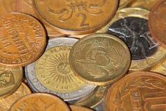 Different coins taken closeup. Royalty Free Stock Photos
