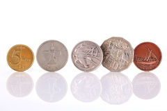 Different coins on white background Royalty Free Stock Image