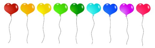 Colorful Heart Shaped Balloons Set. Different color balloons for birthday or greeting card Royalty Free Stock Image