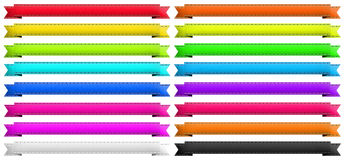 16 different color banner ribbons. 16 banner ribbons of different colors. Image isolated over white background. PNG available Royalty Free Stock Photo