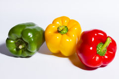 Different color bell peppers Royalty Free Stock Images