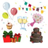 Different color birthday icon set. Vector illustration Royalty Free Stock Photography