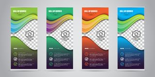 4 Different Color Business Roll Up. Standee Design. Banner Template. Presentation and Brochure. Vector illustration. Bla Stock Images