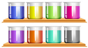 Different color chemical in beakers Stock Photos