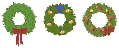 Different color christmas wreaths Royalty Free Stock Photo