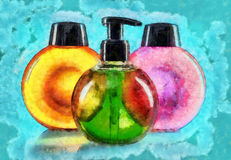 Different color cosmetic bottles Royalty Free Stock Image