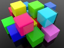 Different color cubes on black background. In background royalty free illustration