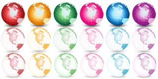 Different color earth illustration Royalty Free Stock Photos