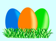 Different color eggs. Different color easter eggs, holiday,green Stock Image