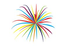 Fireworks vector design illustrated for artwork. Different color fireworks vector designs illustrated for artwork for use royalty free illustration