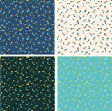 Different color fish seamless pattern set. Royalty Free Stock Images