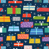 Different color gift boxes seamless background Royalty Free Stock Image