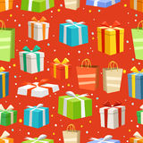 Different color gift boxes seamless pattern vector illustration