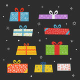 Different color gift boxes set Stock Photo