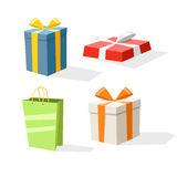 Different color gift boxes  on white. Design elements Stock Photos
