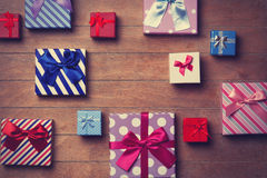 Different color gift boxes Royalty Free Stock Image