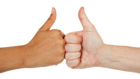 Different color hands. Hands of different color with different gestures Stock Images