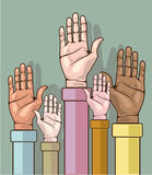 Different color hands lifted up vector Royalty Free Stock Images