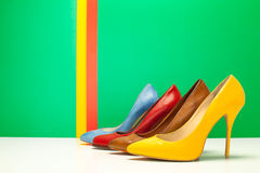 Different color of high heels Royalty Free Stock Photos