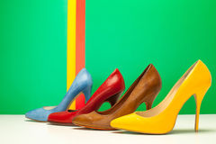 Different color of high heels Stock Photo