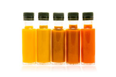 Different Color Home Made Hot Sauce In Glass Bottles Royalty Free Stock Photos