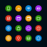Different color interface icons set Royalty Free Stock Photography