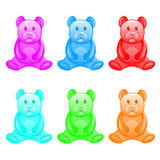 Different color jelly bears. Stock Images