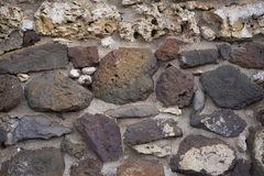 Different Color Lava Rocks To make A WAll Royalty Free Stock Image