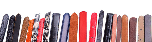 Different color leather belt Stock Photos