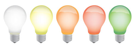 Different color lightbulbs illustration design Royalty Free Stock Image