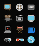 Different color media industry icons set Royalty Free Stock Images