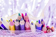 Different color pencils with white background Stock Photos