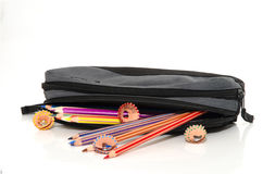 Different color pencils in a pencil case. Different colored pencils in a pencil case isolated on white Royalty Free Stock Photo