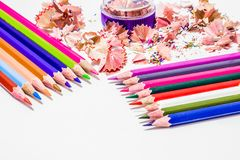 Different color pencils with white background. Different color pencils a sharpener with white background Royalty Free Stock Image