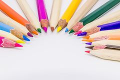 Different color pencils with white background.  Stock Images