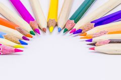 Different color pencils with white background.  Royalty Free Stock Photos
