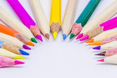 Different color pencils with white background.  Royalty Free Stock Photography