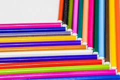 Different color pencils with white background Stock Images