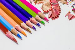 Different color pencils with white background Stock Photography