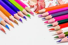 Different color pencils with white background Royalty Free Stock Images