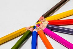 Different color pencils with white background Royalty Free Stock Photos