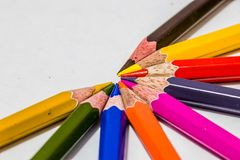 Different color pencils with white background. Different color pencils on white background Stock Photography