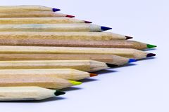 Different color pencils with white background Stock Photo